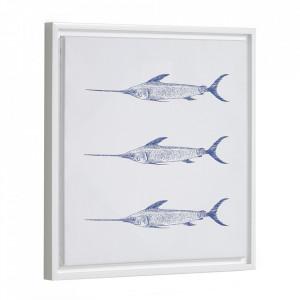 Tablou alb/albastru din canvas si MDF 30x40 cm Lavinia Kave Home