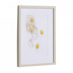 Tablou alb/galben din hartie si MDF 30x40 cm Leyla Kave Home