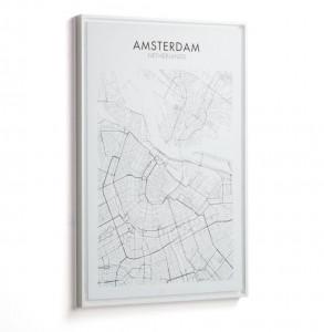Tablou alb/negru din lemn 50x70 cm Uptown Amsterdam La Forma