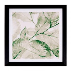 Tablou alb/verde din MDF si polistiren 30x30 cm Hoja Somcasa