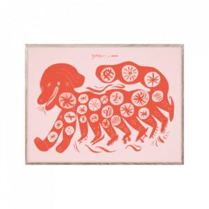 Tablou cu rama din lemn de stejar 30x40 cm Chinese Dog Red Paper Collective