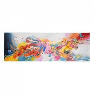 Tablou multicolor din lemn si canvas 50x150 cm Crown Bizzotto