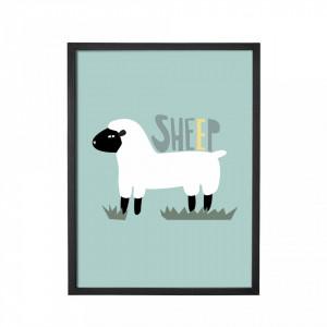 Tablou multicolor si rama neagra din hartie si MDF 35x45 cm Sheep Bloomingville