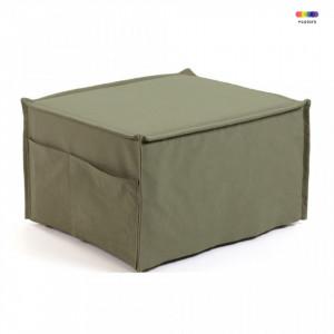 Taburet dreptunghiular modular verde din bumbac si lemn 60x70 cm Lizzie La Forma