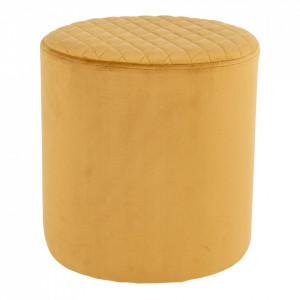 Taburet galben din textil si lemn 34 cm Ejby House Nordic