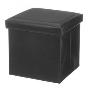 Taburet patrat negru din MDF si piele 38x38 cm Tudor Unimasa