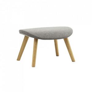 Taburet pentru picioare dreptunghiular maro/gri din textil si lemn 48x62 cm Hyg Normann Copenhagen