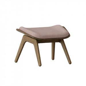 Taburet pentru picioare dreptunghiular roz prafuit/maro inchis din poliester si lemn 46x60 cm The Reader Umage