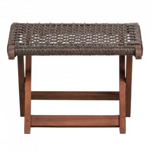 Taburet pentru picioare maro inchis din lemn de eucalipt si polietilena 44x45 cm Lois Woood