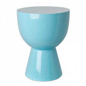 Taburet rotund albastru din poliester lacuit 35,5 cm Tam Tam Pols Potten