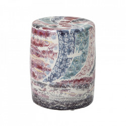 Taburet rotund multicolor din ceramica 37 cm Rina Creative Collection