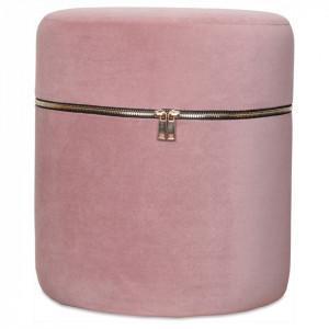 Taburet rotund roz din catifea Zip Opjet Paris
