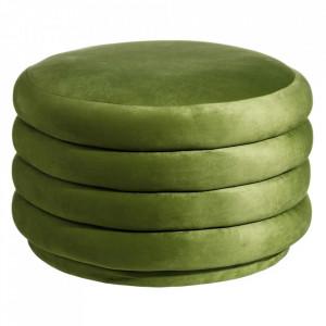 Taburet rotund verde din MDF si poliester 65 cm Pad Ixia