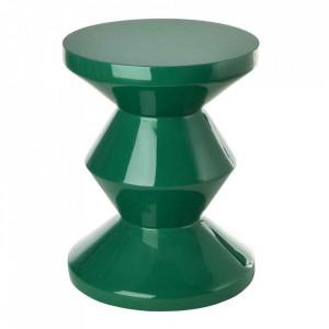 Taburet rotund verde din poliester lacuit 33,5 cm Zig Zag Pols Potten