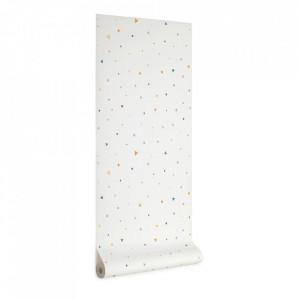 Tapet alb/multicolor din hartie 53x1000 cm Miris Kave Home