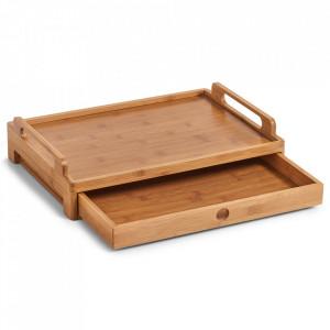 Tava dreptunghiulara maro din lemn pentru mic dejun 31x43 cm Dejeuner Zeller