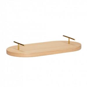 Tava ovala din lemn stejar cu manere alama 40 cm Trix Hubsch