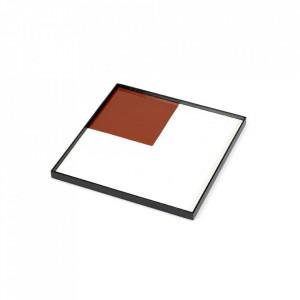 Tava patrata rosie/alba din lemn 30x30 cm Geometry Serax
