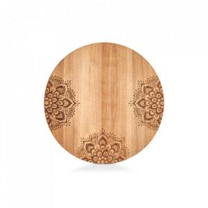 Tocator rotund maro din lemn 27 cm Oriental Floral Zeller