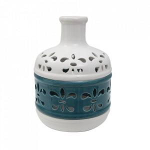 Vaza alba/albastra din portelan 24 cm Lilium Mauro Ferretti