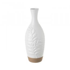Vaza alba/grej din ceramica 30 cm Leona Unimasa