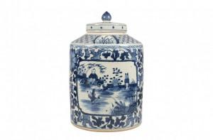 Vaza albastra din ceramica cu capac Delftware Versmissen