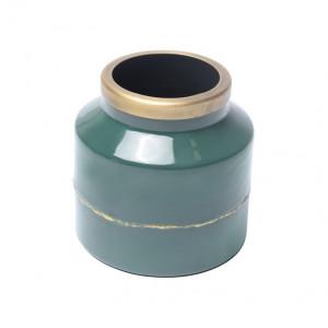 Vaza albastra din metal 16 cm Olia Petrol Zago
