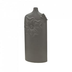 Vaza gri din portelan 39 cm Fleur Mauro Ferretti