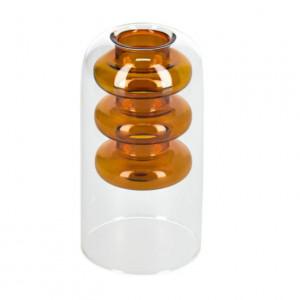 Vaza maro/transparenta din sticla 15 cm Charlize Kave Home