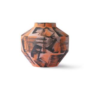 Vaza portocalie/neagra din ceramica 16 cm Venus HK Living