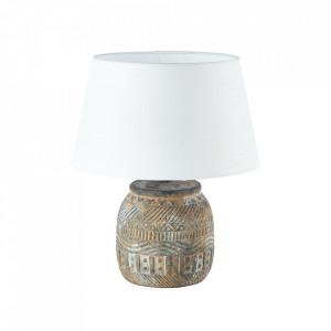 Veioza alba/maro din textil si ceramica 36 cm Amadora Brilliant