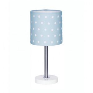 Veioza albastra din textil si inox 35 cm Dots Livone