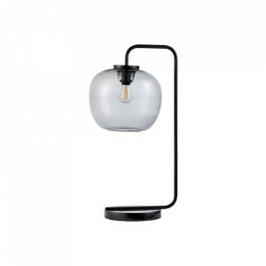 Veioza gri/neagra din sticla si metal 58 cm Grape Table Black Bolia