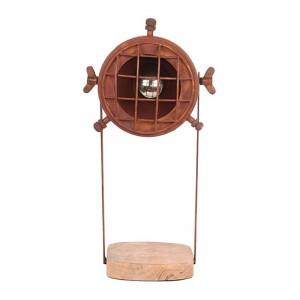 Veioza maro ruginiu/maro din metal si lemn 39 cm Grid LABEL51