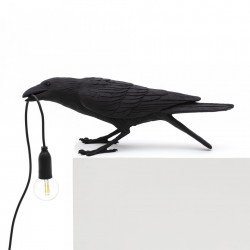 Veioza neagra din rasina 10,5 cm Bird Playing Seletti