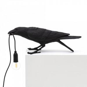 Veioza neagra din rasina 10,5 cm Bird Playing Seletti