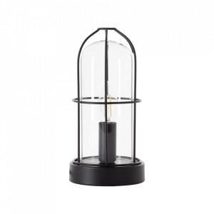 Veioza neagra din sticla si metal 25 cm Storm Brilliant