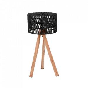 Veioza neagra/maro din bumbac si lemn 69 cm Stripe LABEL51
