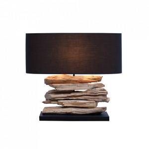 Veioza neagra/maro din in si lemn 50 cm Riverine Invicta Interior