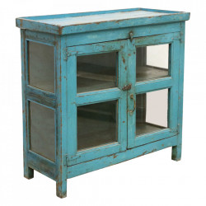 Vitrina albastra din lemn si sticla 99 cm Sakod Raw Materials