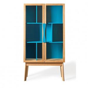 Vitrina albastra/maro din lemn si sticla 165 cm Avon Woodman