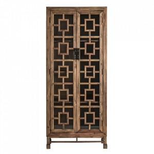 Vitrina maro/transparenta din lemn si sticla 210 cm Lisbro Vical Home