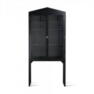 Vitrina neagra din lemn si sticla 160 cm Crested Showcase HK Living