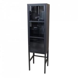 Vitrina neagra din sticla si metal 150 cm Donna HSM Collection