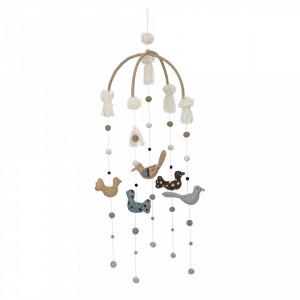 Decoratiune suspendabila din lemn si iuta 36x105 cm Birds Bloomingville