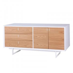 Bufet inferior alb/maro din lemn de stejar si MDF 165 cm Porto Somcasa