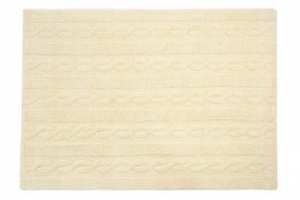 Covor dreptunghiular crem vanilie din bumbac 120x160 cm Braids Vanilla Medium Lorena Canals