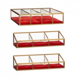 Set 3 cutii din alama si sticla pentru bijuterii Red Hubsch