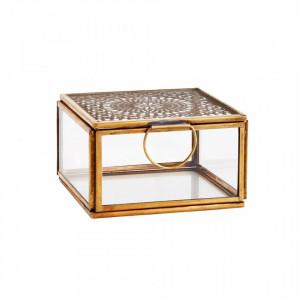 Cutie pentru bijuterii din fier si sticla Alec Brass Madam Stoltz
