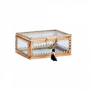 Cutie pentru bijuterii din fier si sticla Martina Gold Madam Stoltz